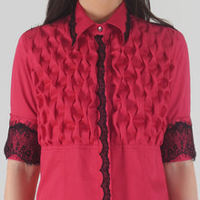 Load image into Gallery viewer, Fuchsia Front Textured Lace Detailed Shirt detail