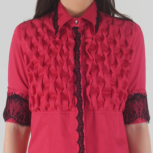 Fuchsia Front Textured Lace Detailed Shirt detail