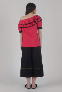 Fuchsia Pink Pleated Sleeve Ruffle One Shoulder Top back