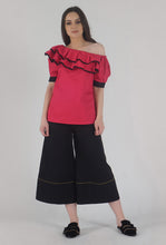 Load image into Gallery viewer, Fuchsia Pink Pleated Sleeve Ruffle One Shoulder Top crop