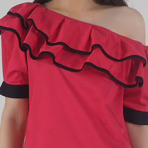 Fuchsia Pink Pleated Sleeve Ruffle One Shoulder Top detail