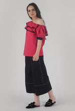 Load image into Gallery viewer, Fuchsia Pink Pleated Sleeve Ruffle One Shoulder Top side