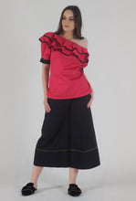 Load image into Gallery viewer, Fuchsia Pink Pleated Sleeve Ruffle One Shoulder Top style