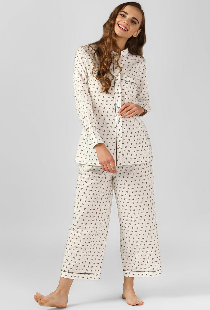 Garden Leaf Print Pajama Party Night Suit