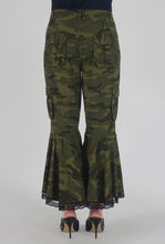 Load image into Gallery viewer, Green Camouflage Lace Detailed Flounce Cargo Pants back