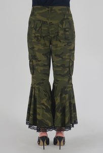 Green Camouflage Lace Detailed Flounce Cargo Pants back
