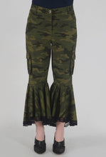 Load image into Gallery viewer, Green Camouflage Lace Detailed Flounce Cargo Pants crop