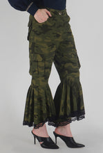 Load image into Gallery viewer, Green Camouflage Lace Detailed Flounce Cargo Pants side