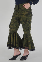 Load image into Gallery viewer, Green Camouflage Lace Detailed Flounce Cargo Pants detail