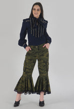 Load image into Gallery viewer, Green Camouflage Lace Detailed Flounce Cargo Pants style