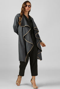 Green Checkered Cascading Wrap Shrug