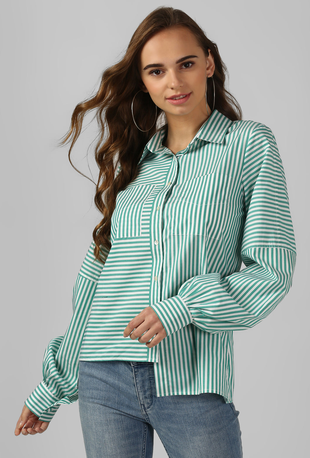 Green Stripe Bishop Sleeve Cotton Shirt
