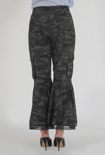 Load image into Gallery viewer, Grey Camouflage Lace Detailed Flounced Cargo Pants