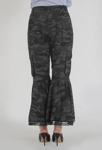 Grey Camouflage Lace Detailed Flounced Cargo Pants