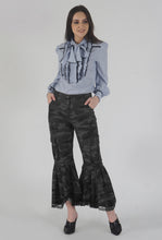Load image into Gallery viewer, Grey Camouflage Lace Detailed Flounced Cargo Pants crop