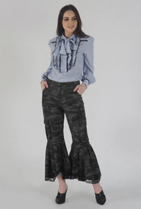 Grey Camouflage Lace Detailed Flounced Cargo Pants crop