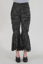 Load image into Gallery viewer, Grey Camouflage Lace Detailed Flounced Cargo Pants detail
