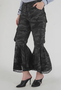 Grey Camouflage Lace Detailed Flounced Cargo Pants side