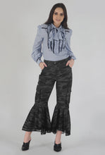 Load image into Gallery viewer, Grey Camouflage Lace Detailed Flounced Cargo Pants style