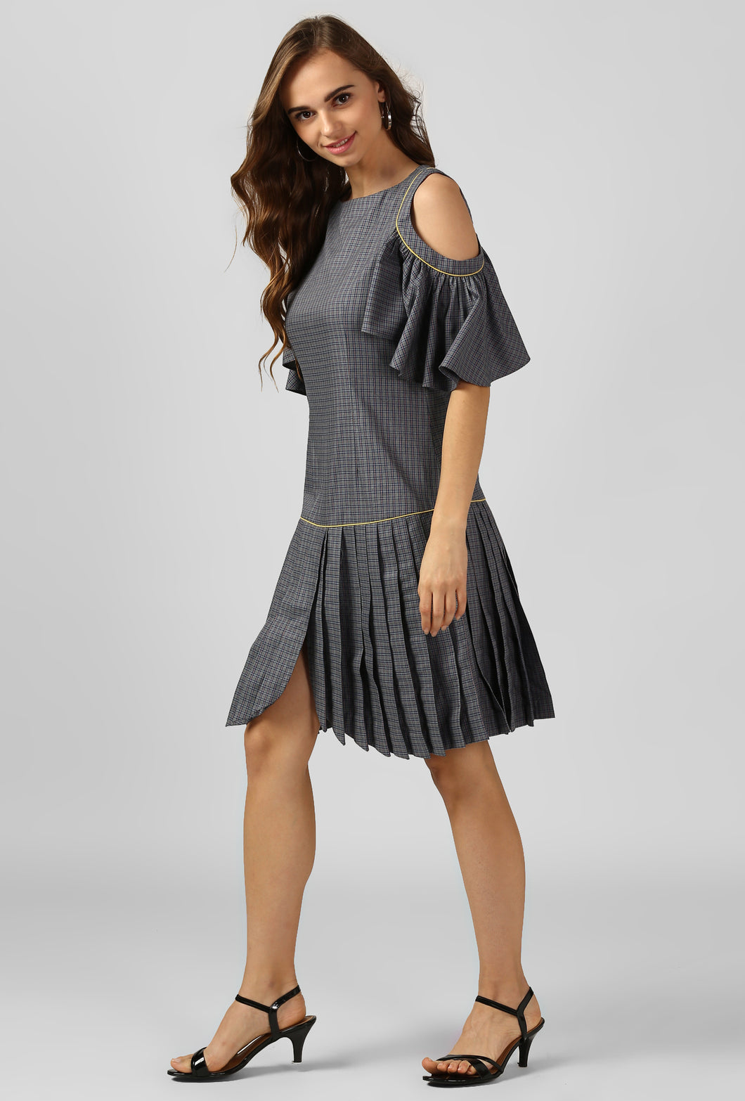 Grey Check Bateau Neck Evening Dress