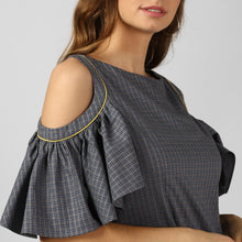 Load image into Gallery viewer, Grey Check Bateau Neck Evening Dress