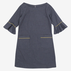 Grey Checkered Boat Neck Mini Me Tunic