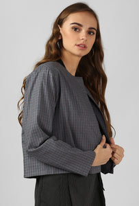 Grey Checkered Slip On Cape