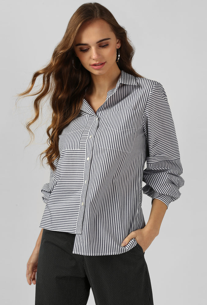 Grey Stripe Bishop Sleeve Cotton Shirt