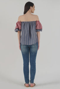Grey Stripe Lantern Sleeve Frilled Off Shoulder Top back