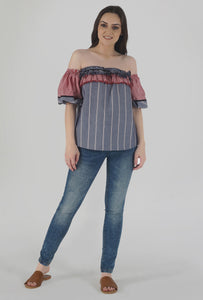 Grey Stripe Lantern Sleeve Frilled Off Shoulder Top crop