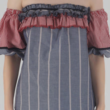 Load image into Gallery viewer, Grey Stripe Lantern Sleeve Frilled Off Shoulder Top detail