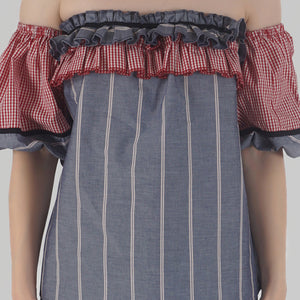 Grey Stripe Lantern Sleeve Frilled Off Shoulder Top detail