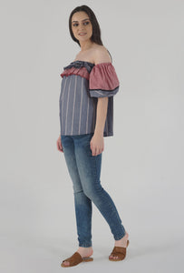 Grey Stripe Lantern Sleeve Frilled Off Shoulder Top side