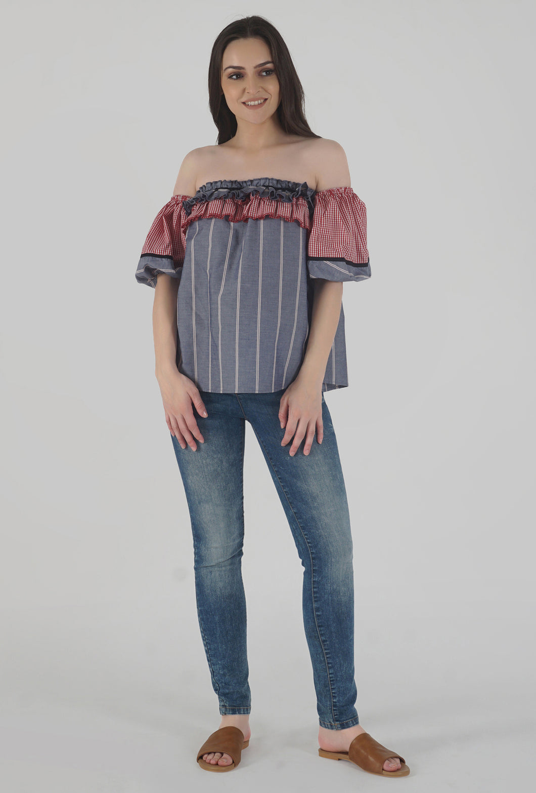 Grey Stripe Lantern Sleeve Frilled Off Shoulder Top style