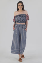 Load image into Gallery viewer, Grey Stripe Ruffled Crop Top crop