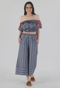 Grey Stripe Ruffled Crop Top crop