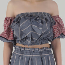 Load image into Gallery viewer, Grey Stripe Ruffled Crop Top detail