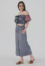 Load image into Gallery viewer, Grey Stripe Ruffled Crop Top side
