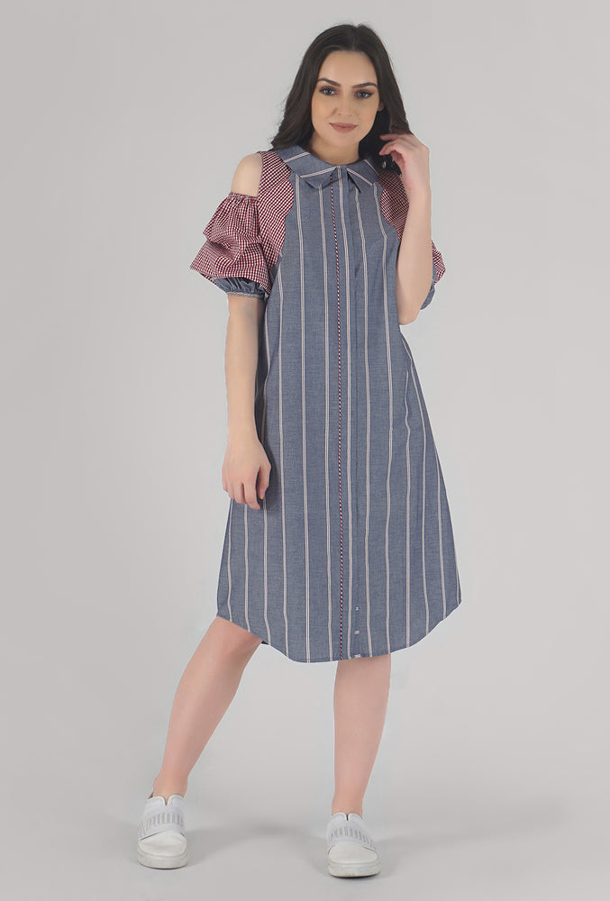 Grey Stripe Scalloping Detailed Cold Shoulder Shirt Dress style