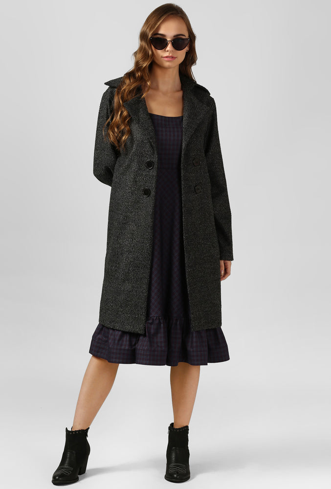 Grey Textured Felt Snuggle Up Long Coat