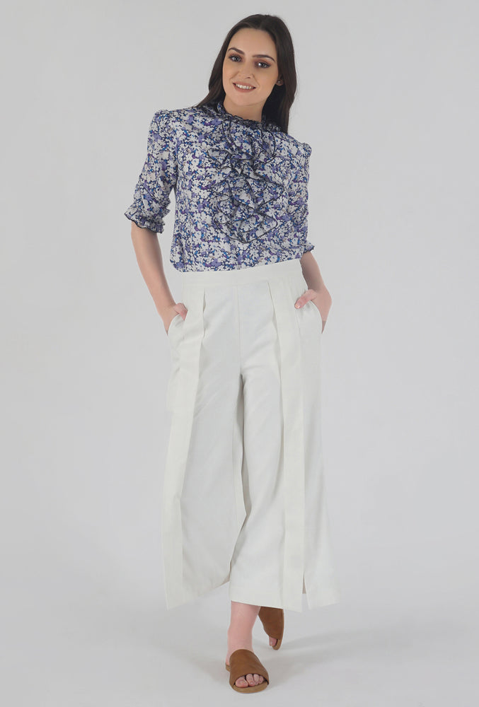 Ivory Pleated Front Slit Culotte Pants style