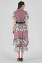 Load image into Gallery viewer, Juliet Corset Tiered Gingham-Paisely Maxi Dress back
