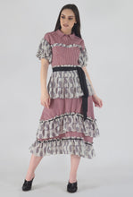 Load image into Gallery viewer, Juliet Corset Tiered Gingham-Paisely Maxi Dress crop