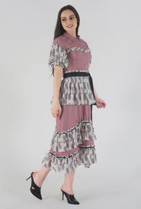 Juliet Corset Tiered Gingham-Paisely Maxi Dress side