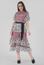 Load image into Gallery viewer, Juliet Corset Tiered Gingham-Paisely Maxi Dress style