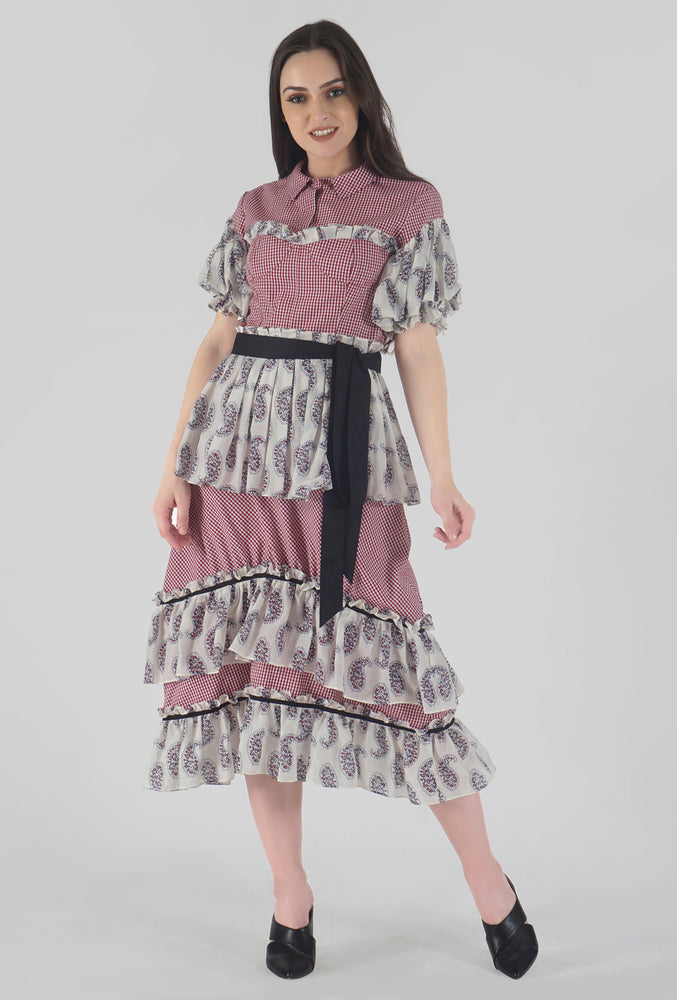 Juliet Corset Tiered Gingham-Paisely Maxi Dress style