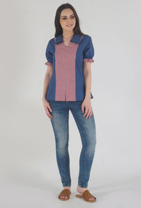 Lapis Blue Frilled Half Sleeve Collared Top crop