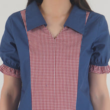 Load image into Gallery viewer, Lapis Blue Frilled Half Sleeve Collared Top detail