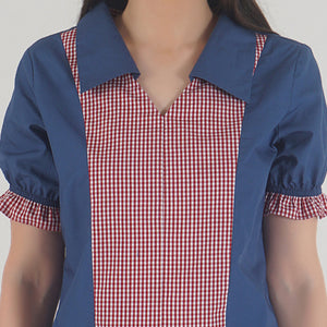 Lapis Blue Frilled Half Sleeve Collared Top detail
