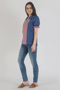 Lapis Blue Frilled Half Sleeve Collared Top